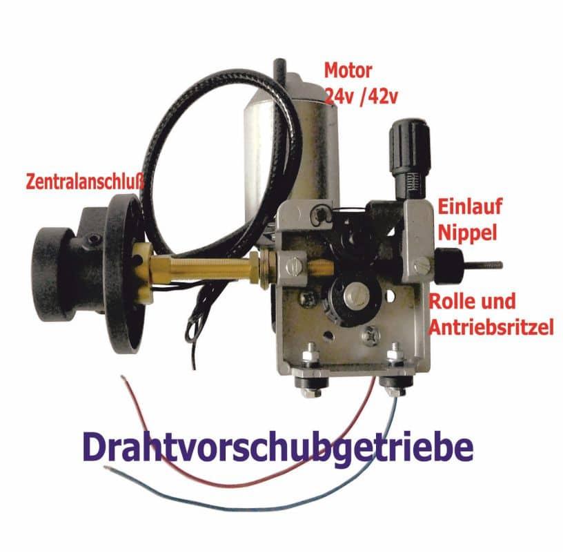 Klapparm mit Ritzel; Drahtvorschubgetriebe MIG//MAG Schweißgerät für 30mm Rollen